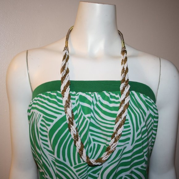 """Beautiful long white and gold beaded necklace 34"""""""
